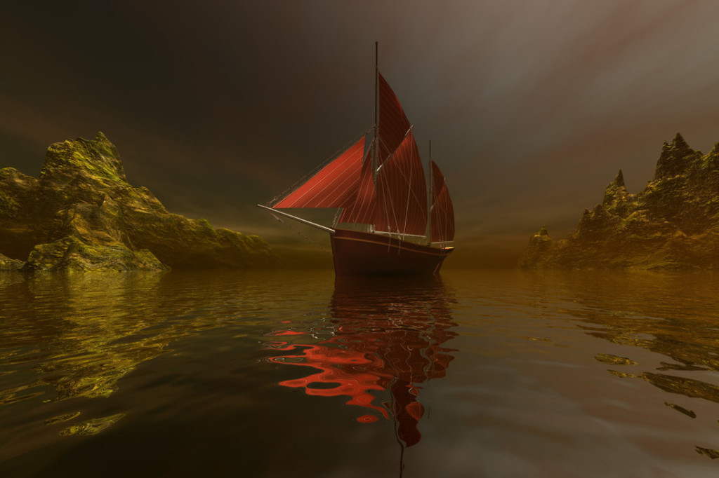 Boat on water red sails. 3D image rendered with Bryce by Sylverdali