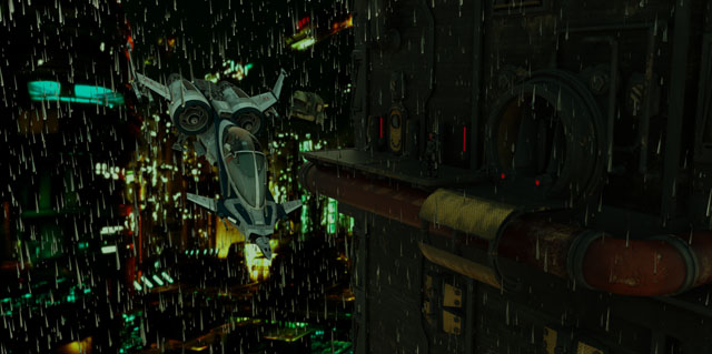 Flying vehicle over rainy Lobar city - MechaNation
