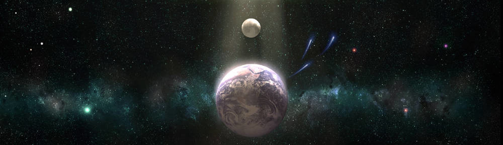 Earth and Moon space scape Photoshop by Joe Vinton