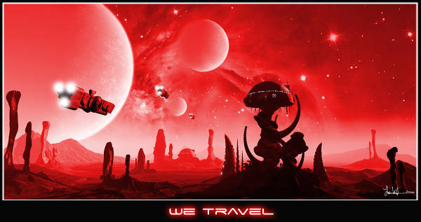 We Travel - stylised space scape by Joe Vinton