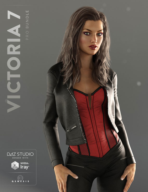 DAZ 3D Victoria 7 promo image: Victoria 7 in leather and corset