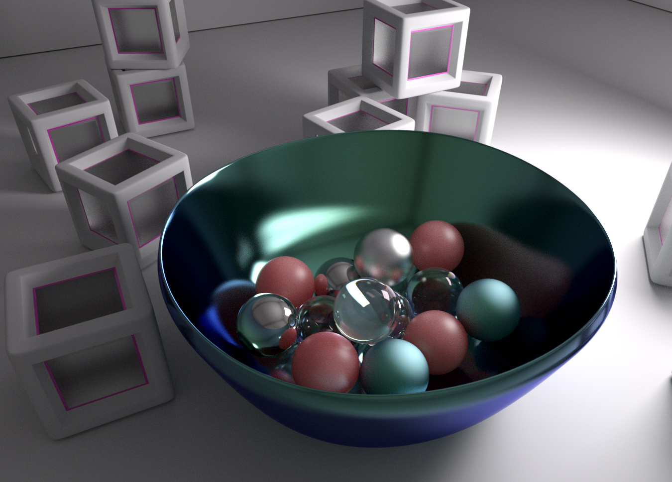 Iray render DAZ Studio - still lifebl - various balls inside a metal dish