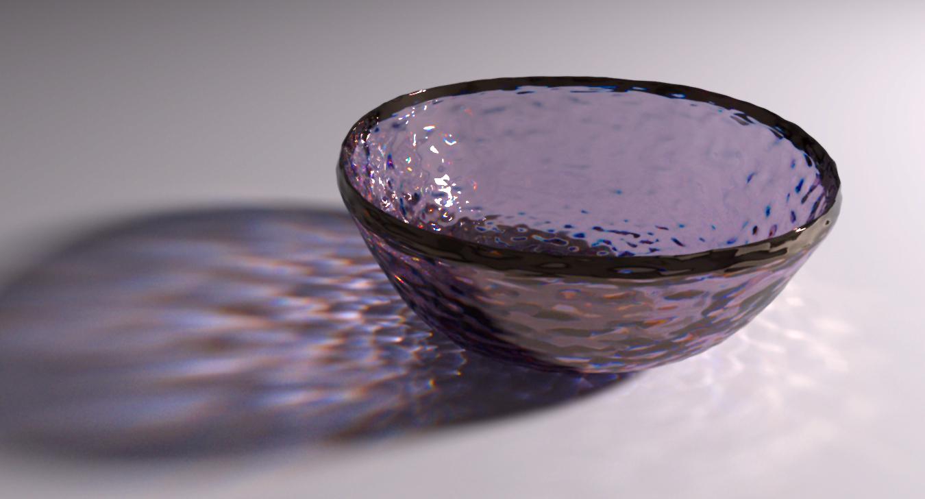 Textured glass bowl demonstraiting Iray caustics.