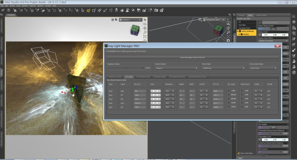 Iray Light Manager Pro for Daz Studio in action.
