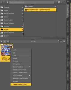 Setting up custom actions (shortcuts) in DAZ Studio