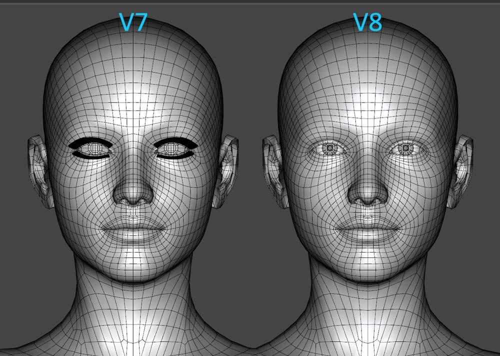 Victoria 8 mesh (face) compared with Victoria 7